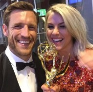 """Congratulations to my incredibly talented and beautiful fiancée Julianne Hough on winning your first Emmy for Outstanding Choreography! So proud of you, love you so much!"" - Emmy Awards - September 12, 2015 Courtesy brookslaich IG"